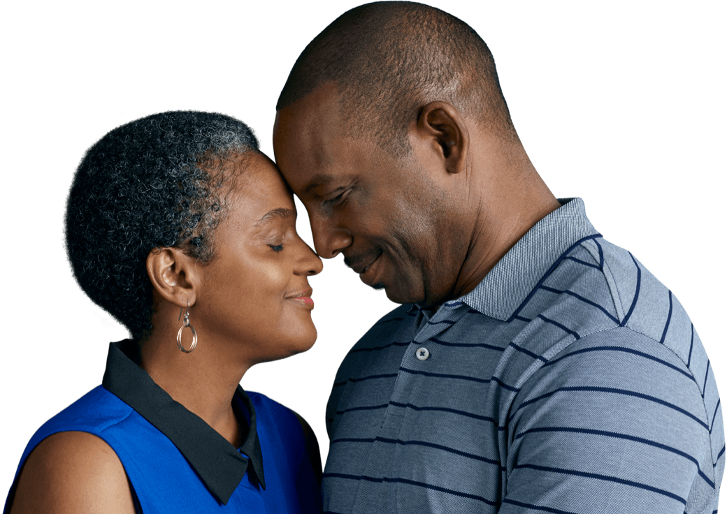 Tiffany, an actual patient living with multiple myeloma, with her husband