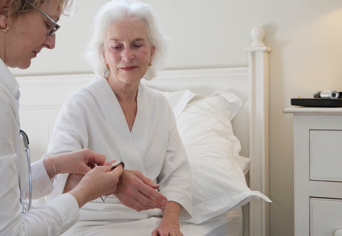 A caregiver helping a patient with mantle cell lymphoma