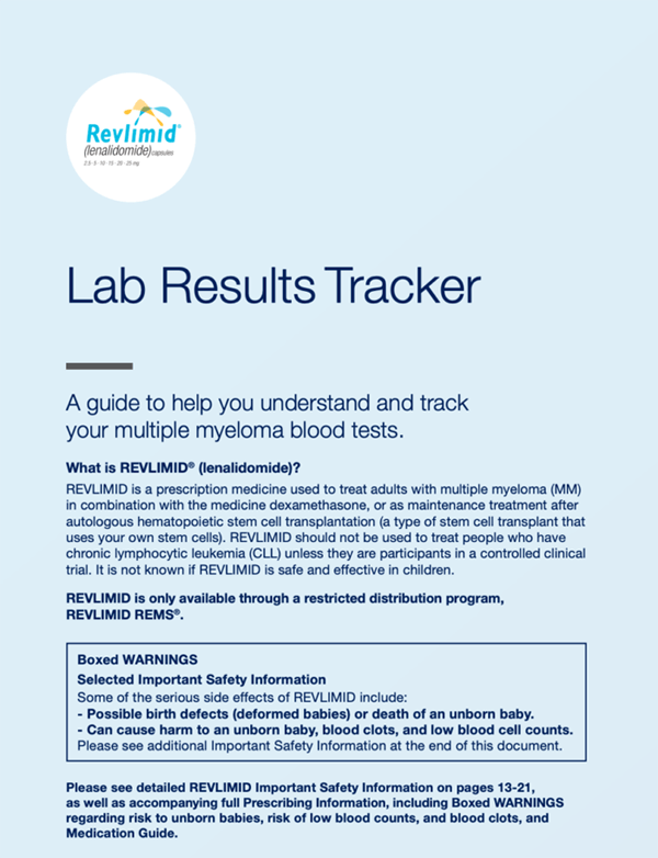 REVLIMID® Lab Results Tracker